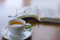 Leggendo dietro una tazza di tè Immagini Stock