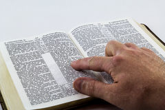 Leggendo una bibbia sul fondo bianco Immagine Stock