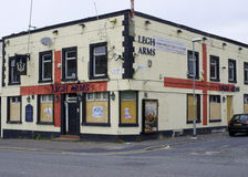 "Legh Arms. Manchester, England – 18th August 2015. ""The Legh Arms"", a well known local pub in North Manchester, which won ""Pub of the Year"" in 2005 is Royalty Free Stock Photos"