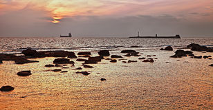 Leghorn Livorno, Tuscany, Italy: seascape at sunset of the Lig. Urian sea in front of the port of the city Royalty Free Stock Photo