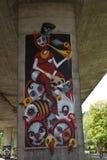Legia华沙橄榄球俱乐部爱好者创造的有趣的街道画  库存图片