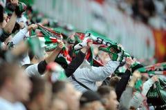Legia Warsaw football fans Stock Photos