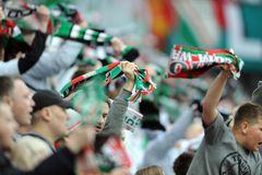 Legia Warsaw football fans Royalty Free Stock Photo