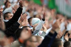 Legia Warsaw football fans Stock Images