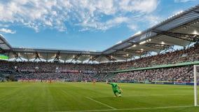 Legia Warszawa stadium. WARSAW, POLAND - SEPTEMBER 18, 2016: Match Polish PremIer League Lotto Ekstraklasa between Legia Warszawa - KGHM Zaglebie Lubin 2:3. In Royalty Free Stock Photography