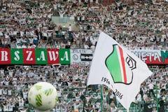 Legia Warszawa stadium. WARSAW, POLAND - SEPTEMBER 18, 2016: Match Polish PremIer League Lotto Ekstraklasa between Legia Warszawa - KGHM Zaglebie Lubin 2:3. Flag Royalty Free Stock Image