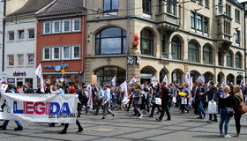 Legida Political Protesters Erfurt, Germany. Right-wing political protest in the streets of Erfurt, Germany stock images