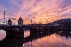 Legion Bridge and River Vltava in Prague Stock Image
