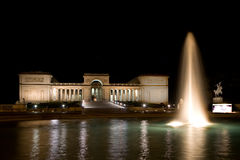 Legion of Honor 1. Legion of Honor in San Francisco at night.  It is an art gallery with a statue of The Thinker in the public courtyard Royalty Free Stock Images