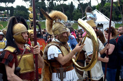 Legionaries at ancient romans historical parade. Legionaries  at ancient romans historical parade for the birth of city of Rome 21st of april  at circus maximus Stock Images