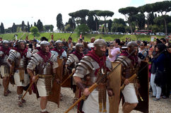 Legionaries at ancient romans historical parade. Legionaries  at ancient romans historical parade for the birth of city of Rome 21st of april  at circus maximus Stock Photos