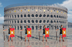 Legionaries and Colosseum in ancient Rome Royalty Free Stock Photo