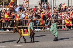 Legionarios and goat pet marching in Spanish National Day Army P. Madrid, Spain - October 12, 2017: Legionarios and goat marching in Spanish National Day Army Royalty Free Stock Photography