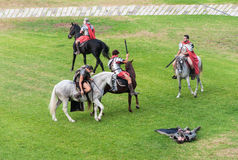 Legionarios romanos de los soldados en el festival Imágenes de archivo libres de regalías
