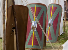 Legionary Shields in a Roman Encampment Royalty Free Stock Photography