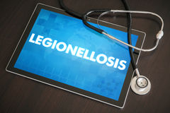 Legionellosis (infectious disease) diagnosis medical concept. On tablet screen with stethoscope Royalty Free Stock Photos