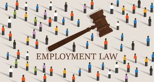 Legislação labor dos direitos laborais um cowd do martelo e dos povos conceito da educação legal ilustração stock