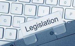 Legislation folder on computer keyboard. Legislation folder with text on computer keyboard in the office royalty free stock photo