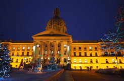 Legislative Building Edmonton, Alberta With Christmas Lights Stock Photos