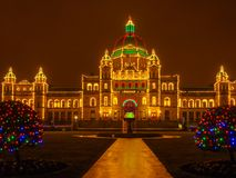 Legislative Building of Victoria BC, capital of British Columbia. Vancouver Island, Canada, illuminated at Christmas and New Year time Stock Photos