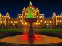 Legislative Building of Victoria BC, capital of British Columbia. Vancouver Island, Canada, illuminated at Christmas and New Year time Royalty Free Stock Image