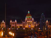 Legislative Building of Victoria BC, capital of British Columbia. Vancouver Island, Canada, illuminated at Christmas and New Year time Stock Photo