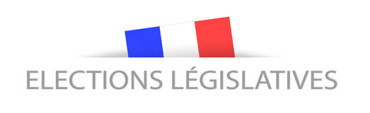 Legislative elections in French with a part hidden french flag Stock Photos