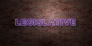 LEGISLATIVE - fluorescent Neon tube Sign on brickwork - Front view - 3D rendered royalty free stock picture. Can be used for online banner ads and direct Stock Photo