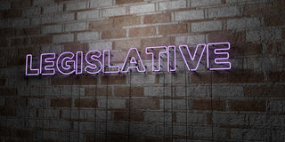 LEGISLATIVE - Glowing Neon Sign on stonework wall - 3D rendered royalty free stock illustration. Can be used for online banner ads and direct mailers Royalty Free Stock Photo