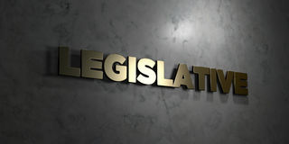 Legislative - Gold text on black background - 3D rendered royalty free stock picture Royalty Free Stock Photography