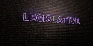 LEGISLATIVE -Realistic Neon Sign on Brick Wall background - 3D rendered royalty free stock image. Can be used for online banner ads and direct mailers Stock Image