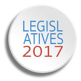 Legislative 2017 in round white button with shadow. Legislative 2017 in round white button Stock Image