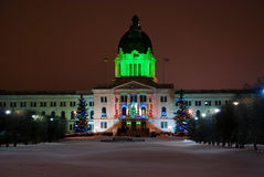 Legislature. Christmas night scenery with  Parliament building in Regina Saskatchewan Stock Photography