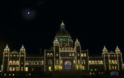 Legislature Victoria BC. This is an image of the Legislature buildings in downtown Victoria, British Columbia, Canada, lit up for the holiday season.  In 2010 Stock Photos
