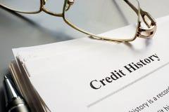 Legitimationshandlingar och penna för rapport för krediteringshistoria royaltyfri bild