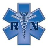 Legitimerad sjuksköterska Star av livläkarundersökningsymbolet Royaltyfri Fotografi