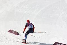 Legkov under mäns start för mass för längdlöpning 50km Arkivfoto