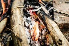 Legna da ardere Burning falò fuoco, ceneri Fotografie Stock