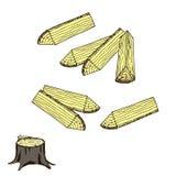Legna da ardere, ceppo per industria di silvicoltura royalty illustrazione gratis