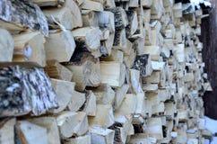 Legna da ardere della betulla per il riscaldamento la casa e del giardino Immagini Stock