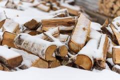 Legna da ardere della betulla tagliata e bugia sotto la neve fotografia stock