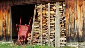 Legna da ardere e carriola spaccate dalla vecchia tettoia Fotografie Stock