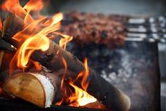Legna da ardere per il kebab dello shish Immagini Stock Libere da Diritti