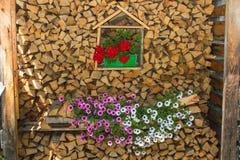 Legna da ardere per la stagione invernale decorata con i fiori Immagini Stock