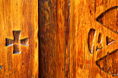 In legnano    curch  closed metal wood italy  lombardy   pax Stock Image
