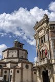 Legnano, Italy: Malinverni Palace and San Magno church. Legnano, Milan, Lombardy, Italy: the historic building known as Palazzo Malinverni, hosting the town hall stock images