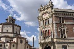 Legnano, Italy: Malinverni Palace and San Magno church. Legnano, Milan, Lombardy, Italy: the historic building known as Palazzo Malinverni, hosting the town hall royalty free stock image