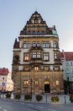 Architecture in Legnica. Poland. LEGNICA, POLAND - JUN 16, 2014: City Hall of Legnica in Poland. Legnica is a former capital of the the Legnica Voivodeship (1 royalty free stock image
