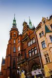Architecture in Legnica. Poland. LEGNICA, POLAND - JUN 16, 2014: St Paul and Petr cathedral in Legnica in Poland. Legnica is a former capital of the the Legnica royalty free stock images