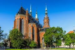 Architecture  in Legnica. Poland. LEGNICA, POLAND - JUN 16, 2014: St Paul and Petr cathedral in  Legnica in Poland.  Legnica is a former capital of the the Stock Image